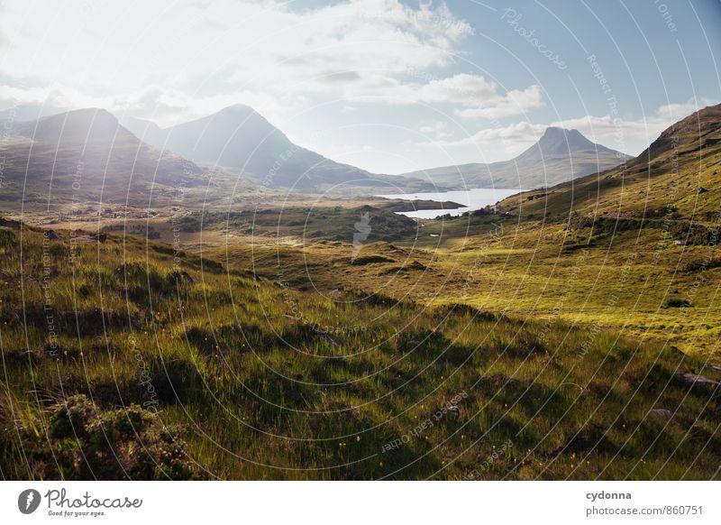 Highlands Natur Ferien & Urlaub & Reisen Sommer Erholung Landschaft ruhig Ferne Umwelt Berge u. Gebirge Wiese Wege & Pfade Freiheit See Horizont träumen