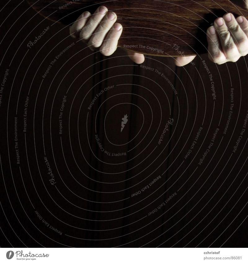 No Panic Hand Holz Kraft Finger anstrengen ziehen tragen bringen
