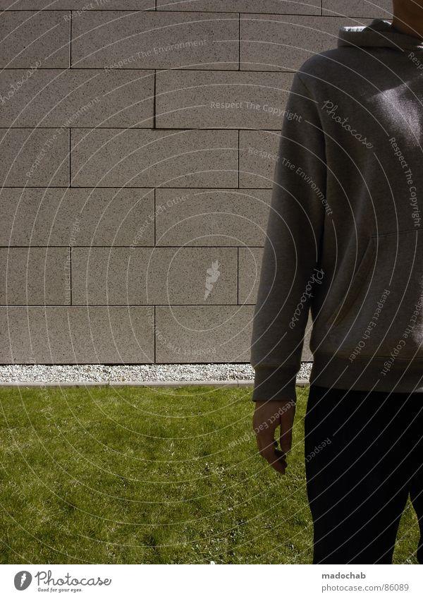CLOSER Mensch Natur Mann grün Hand Wand Wiese Gras Hintergrundbild Mauer Spielen grau Stein Linie Ordnung Dekoration & Verzierung