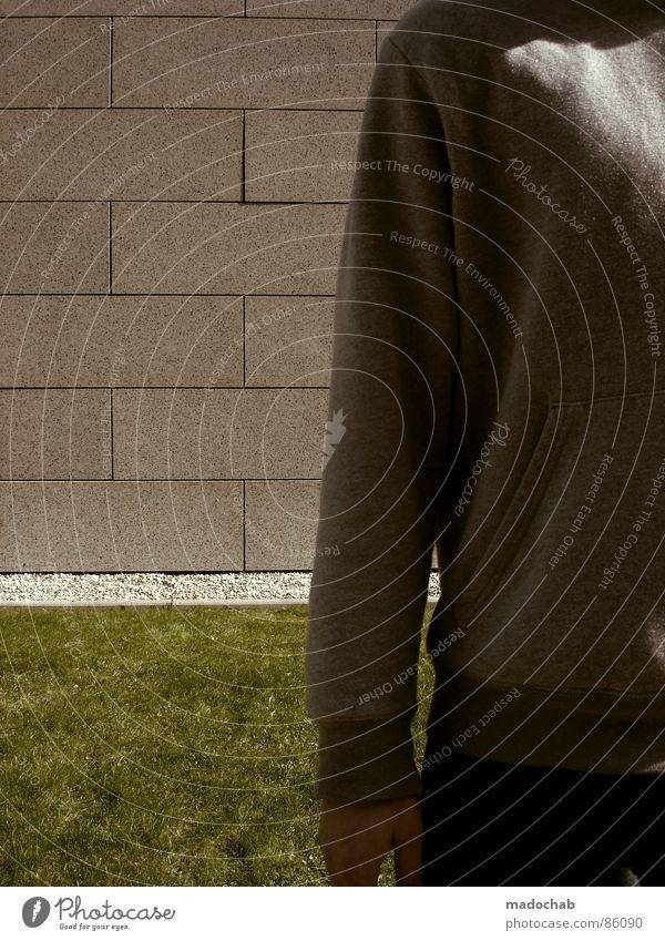 SUPER SCHICK Mensch Natur Mann alt grün Hand Wand Wiese Gras Hintergrundbild Mauer Spielen grau Stein Linie Ordnung
