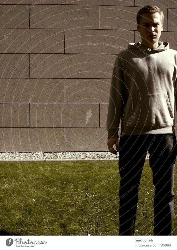 MOPPELCHAB Mensch Natur Jugendliche Mann alt grün Hand Wand Wiese Gras Hintergrundbild Mauer Spielen grau Stein Linie