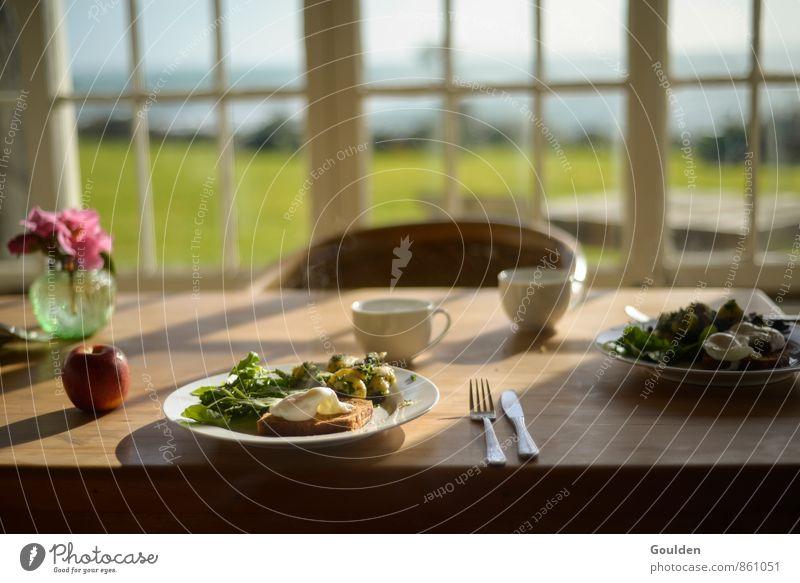 second breakfast Lebensmittel Gemüse Salatbeilage Apfel Brot Kaffee Kräuter & Gewürze Frühstück Vegetarische Ernährung Besteck Häusliches Leben Tisch Holz