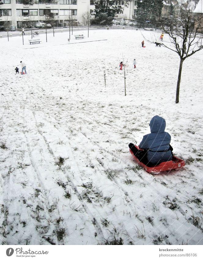 am Idiotenhügel Kind Freude Winter kalt Schnee Junge Spielen Hügel Spuren Kleinkind abwärts Vorstadt Rodeln Rodelbahn Winterbekleidung Wintersportbekleidung