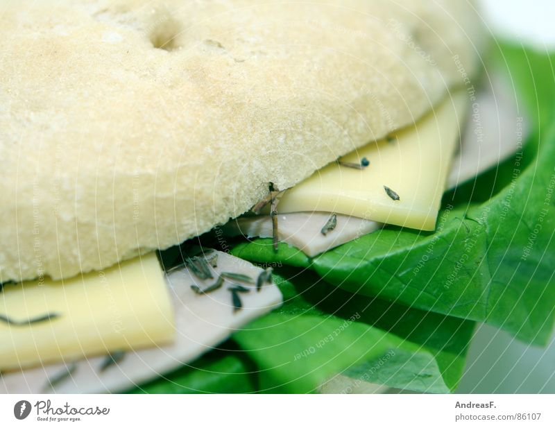 Flaguette Kümmel Brot Brötchen Baguette Belegtes Brot Frühstück frisch Brotbelag Salatblatt Schinken Wurstbrot Mahlzeit Weißbrot Bagel Mittagessen Gastronomie