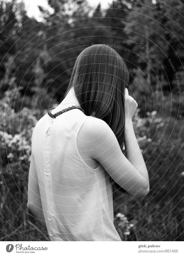 Doc #blackback elegant Stil Haare & Frisuren Sommer Mensch Junge Frau Jugendliche Rücken 1 18-30 Jahre Erwachsene Natur Pflanze Baum Blume Garten Mode Kleid