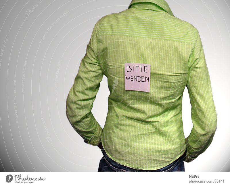 Bitte Wenden! Frau Streifen gestreift Bluse grün Oberkörper Dame schön bitte wenden nach hinten Schilder & Markierungen Zettel Schatten Rücken rückwärts