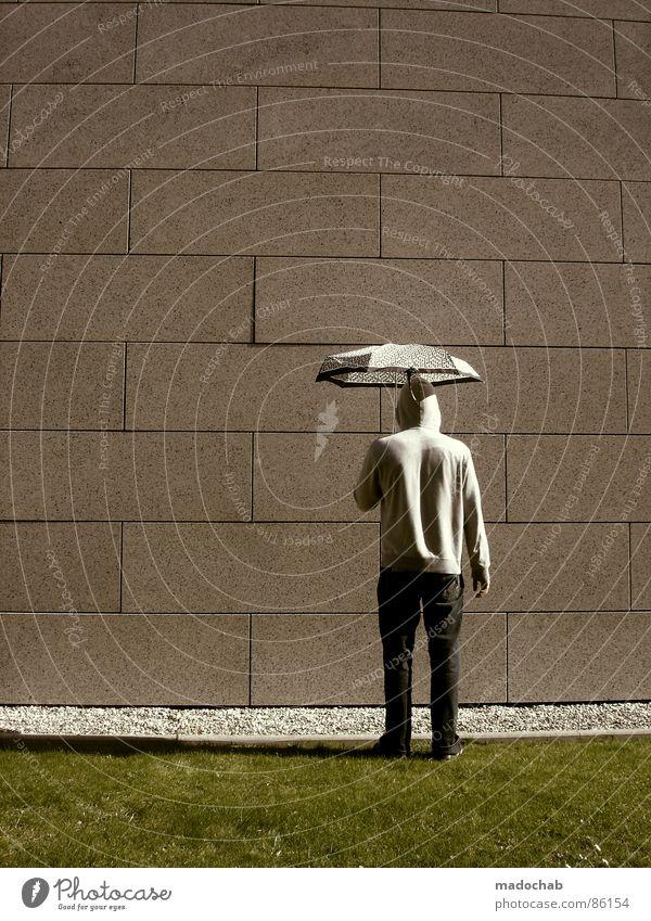 MADO POPPINS Mensch Natur Mann alt grün Hand Wand Wiese Gras Hintergrundbild Mauer Spielen Lifestyle grau Stein Linie