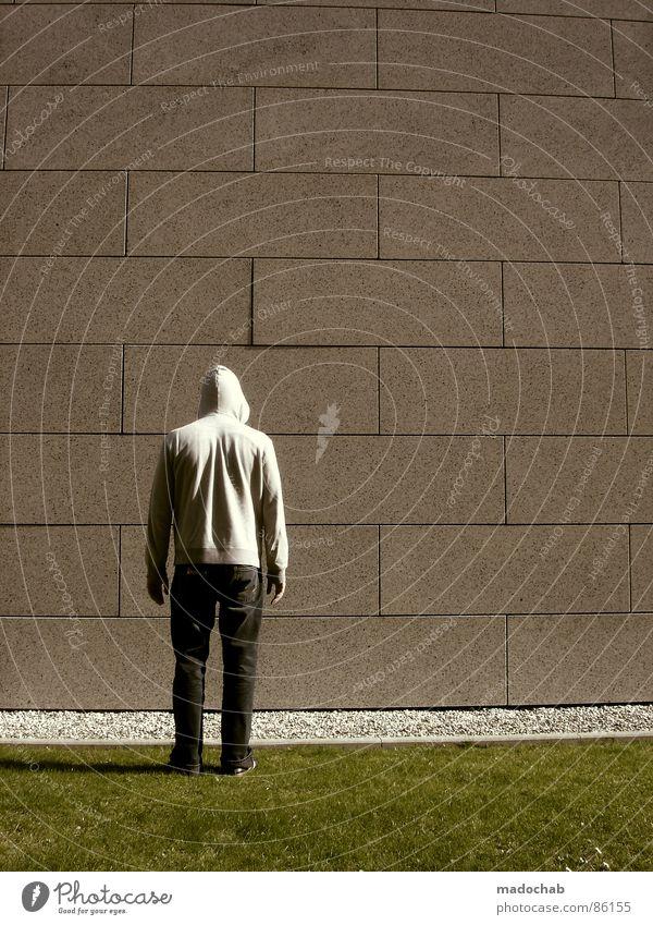 STELL DICH Mensch Natur alt grün Hand Wand Architektur Wiese Gras Hintergrundbild Mauer Spielen grau Stein Linie Ordnung