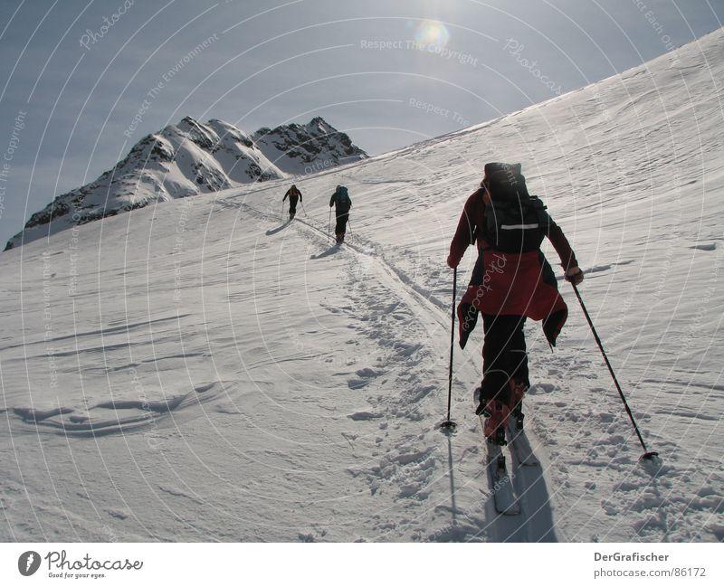 Einzelgänger Winter Höhenrausch wandern Sonnenlicht Wintersport Skitour Sport Schnee Berge u. Gebirge Gletscher Eis Frost Skifahren Skier einzeln Lücke