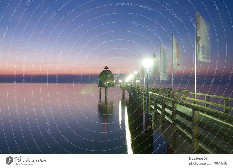 Seebrücke Zingst Natur Sand Wasser Wolkenloser Himmel Nachthimmel Horizont Sommer Ostsee Meer Zingster Seebrücke Deutschland Europa Kleinstadt Menschenleer