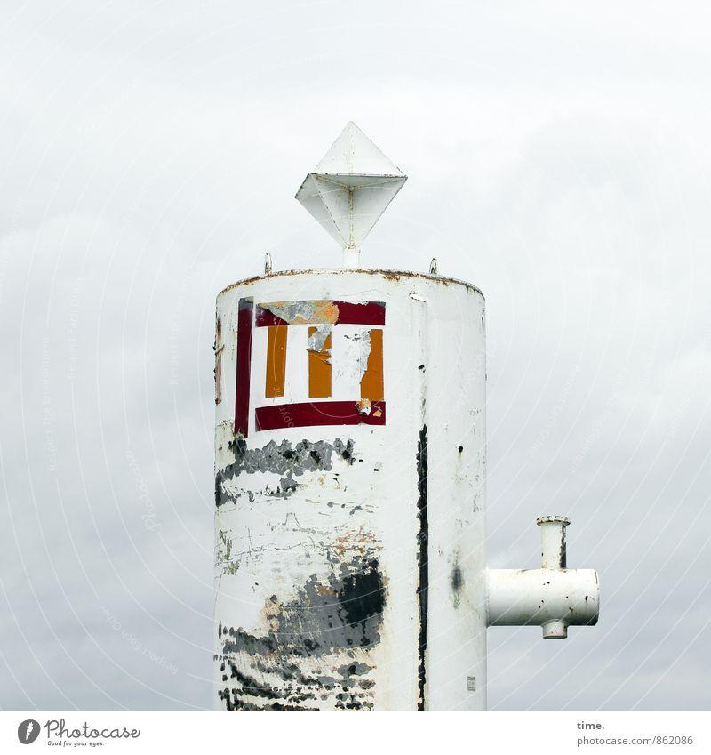 Elbritter Himmel Wolken Metall dreckig Design Schilder & Markierungen Technik & Technologie Vergänglichkeit Güterverkehr & Logistik geheimnisvoll Verfall Rost Schifffahrt Dienstleistungsgewerbe Abnutzung Rätsel
