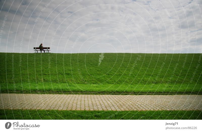 Deichkind. Himmel Natur grün Meer Einsamkeit Wolken ruhig Strand Erholung Umwelt Ferne Wiese Gras Wege & Pfade Küste Denken