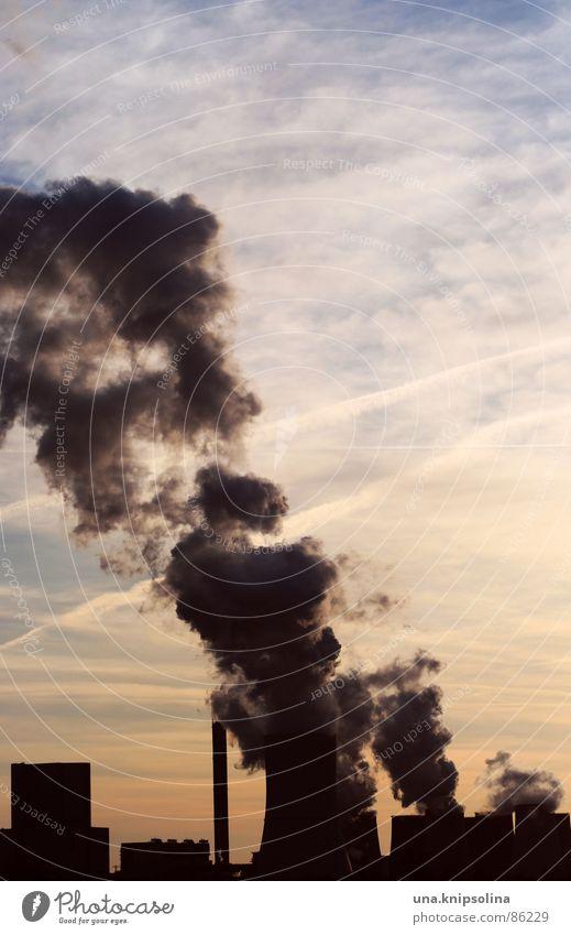 boxberg Industrie Energiewirtschaft Himmel Wolken Nebel Fluss Turm Schornstein Leistung Sachsen Kondenswasser Wasserdampf Elektrizität Sonnenuntergang produktiv