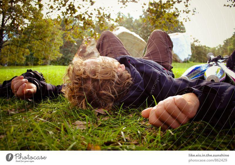 mit dir chillen Natur Jugendliche Mann Sommer Baum Erholung Hand ruhig 18-30 Jahre Junger Mann Erwachsene Leben Herbst Gras liegen Park