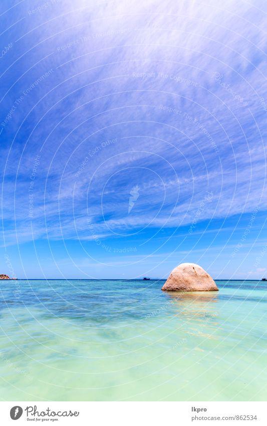 Himmel Natur Ferien & Urlaub & Reisen blau Sommer Wasser Sonne Erholung Landschaft ruhig Wolken Strand gelb Küste Stein Felsen