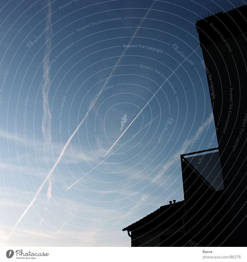 a himmel! Himmel Ferien & Urlaub & Reisen Flugzeug fliegen Luftverkehr Balkon Fernweh Abenddämmerung Düsenflugzeug Kondensstreifen