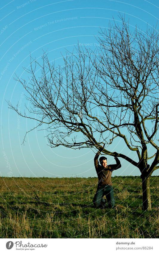 grünblau[hängend] Himmel Mann Natur Hand grün Sommer Blatt Auge Wiese Gras Haare & Frisuren lachen Frühling Wärme träumen Beine