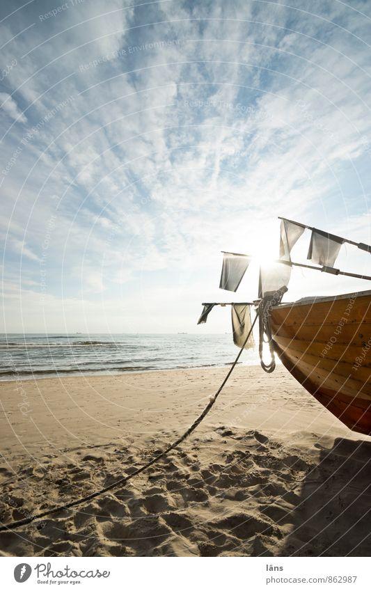 Strandfischer Fischer Fischerboot Sand Horizont Himmel Wolken Usedom