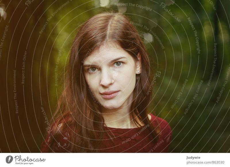 Intensiv Mensch Frau Kind Natur Jugendliche schön Sommer Junge Frau 18-30 Jahre Wald Umwelt Erwachsene Gesicht Traurigkeit Herbst feminin