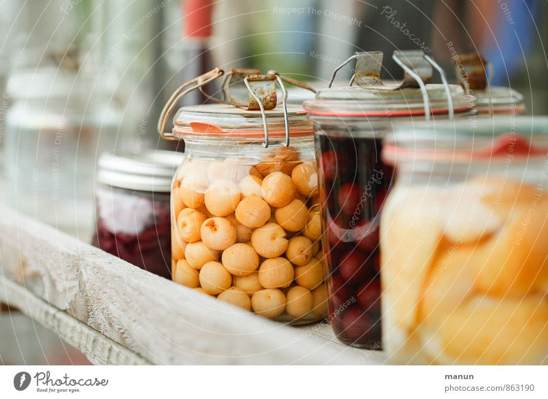 Eingemachtes natürlich Gesundheit Lebensmittel Frucht frisch Ernährung lecker Bioprodukte Vitamin Dessert Vegetarische Ernährung Vorrat Einmachglas