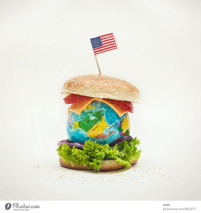 Erd-Burger Lebensmittel Käse Salat Salatbeilage Ernährung Fastfood Lifestyle Erde Fahne Globus außergewöhnlich Unendlichkeit lustig Originalität