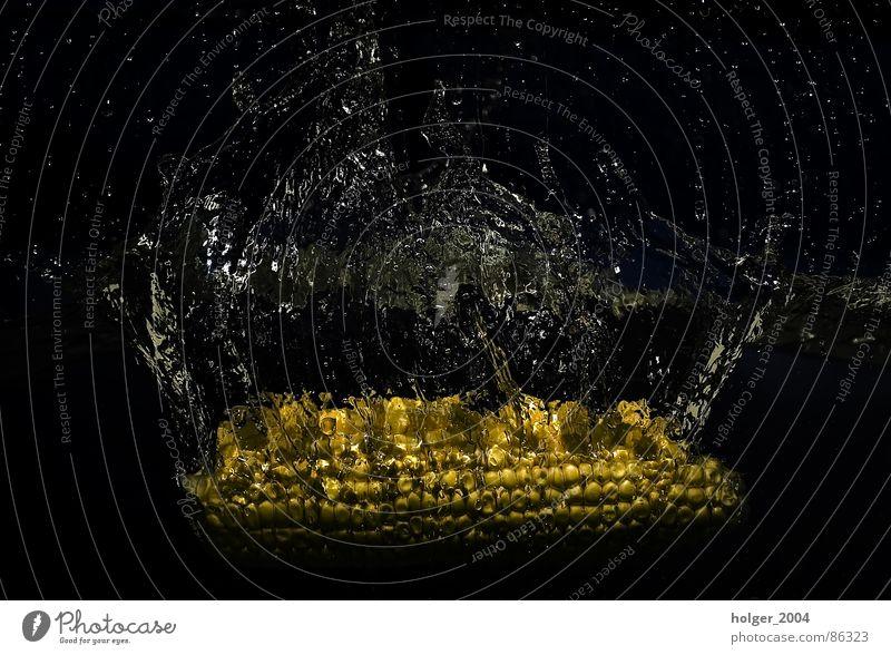 Maiskolben geht baden tauchen spritzen Wasserspritzer abstrakt glänzend Makroaufnahme aquatisch Wasserbehälter freier fall wasser... ein Spritzer