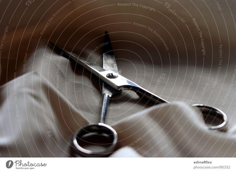 Schnitt Metall Stoff Schere Scharfer Gegenstand Objektfotografie