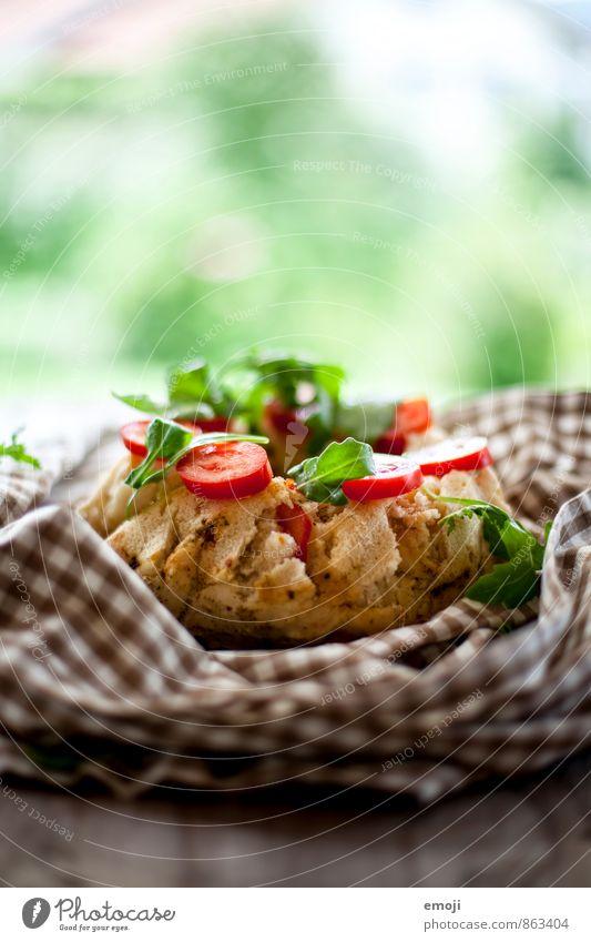 Tomate, Rucola Teigwaren Backwaren Brot Kuchen Ernährung Mittagessen Picknick Vegetarische Ernährung lecker natürlich Farbfoto Innenaufnahme Nahaufnahme