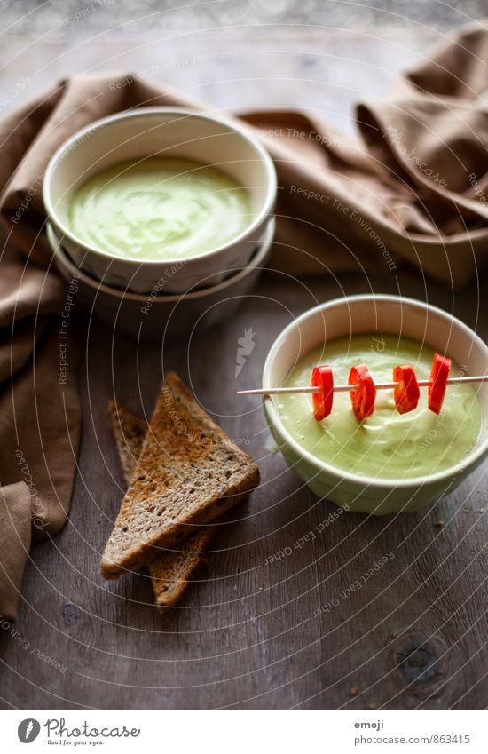 kalte Avocadosuppe grün Gesundheit frisch Ernährung Gemüse lecker Bioprodukte Schalen & Schüsseln Brot Diät Vegetarische Ernährung Suppe Eintopf