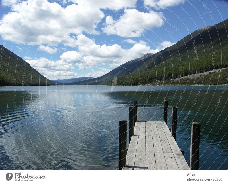 Lake Rotoiti, Neuseeland See Steg ruhig Wolken Frieden Berge u. Gebirge Wasser tief stehbolzen Wege & Pfade