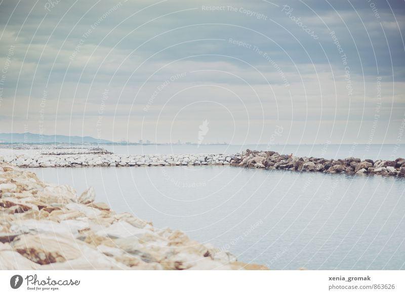 Strand Himmel Ferien & Urlaub & Reisen Sommer Sonne Meer Erholung ruhig Ferne Umwelt Freiheit Horizont Felsen Freizeit & Hobby Lifestyle Tourismus
