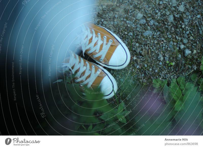 Lieblingsschuhe orange Schuhe wandern Turnschuh Chucks Schuhbänder Waldspaziergang
