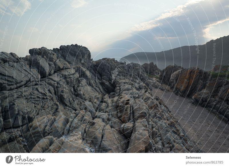Ecken und Kanten Himmel Natur Ferien & Urlaub & Reisen Meer Landschaft Wolken Ferne Strand Berge u. Gebirge Umwelt Freiheit Felsen Horizont Tourismus Ausflug