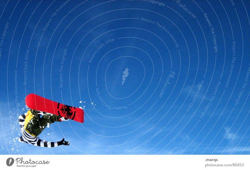 Turn blau rot kalt Berge u. Gebirge Schnee Stil Sport fliegen springen Geschwindigkeit Konzentration Dynamik drehen Sportveranstaltung gestreift rotieren