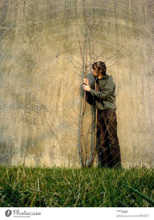 mein freund, der baum bedrängen Mauer Selbstportrait Naturliebe Gras grün Duell Lebensraum Biotop Rettung Umwelt liebste Tod Unsinn Spaßvogel Baumstamm Wildnis