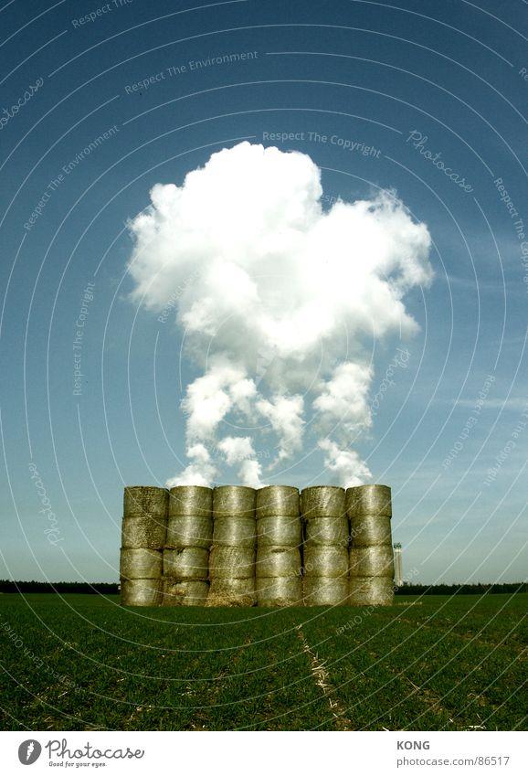 strohdampf Stroh Strohballen Industriefotografie Wiese Feld himmelblau Himmel Mitte zentral Wolken grün Gemeindeland Horizont obskur dampft strohmiete steamy
