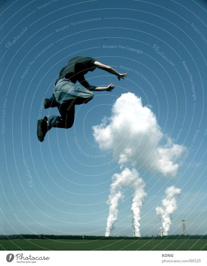 beschwören Himmel Freude Wolken oben springen Horizont fliegen Flugzeug Geschwindigkeit Luftverkehr Industrie Industriefotografie fallen unten aufwärts abwärts