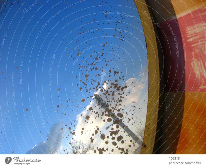 OPTISCHES BAUTEIL #1 Himmel alt blau schön Wolken Hintergrundbild dreckig Verkehr Kreis Turm Industrie Streifen Niveau Bild Symbole & Metaphern