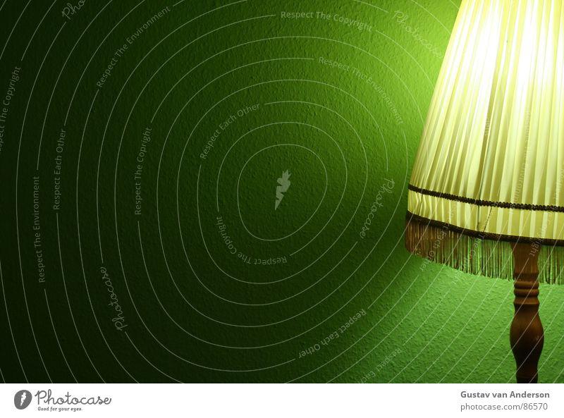 mit stock und schirm 2 grün gelb Farbe Metall Wohnung Regenschirm Stoff Tapete Möbel Draht Glühbirne grell Stehlampe