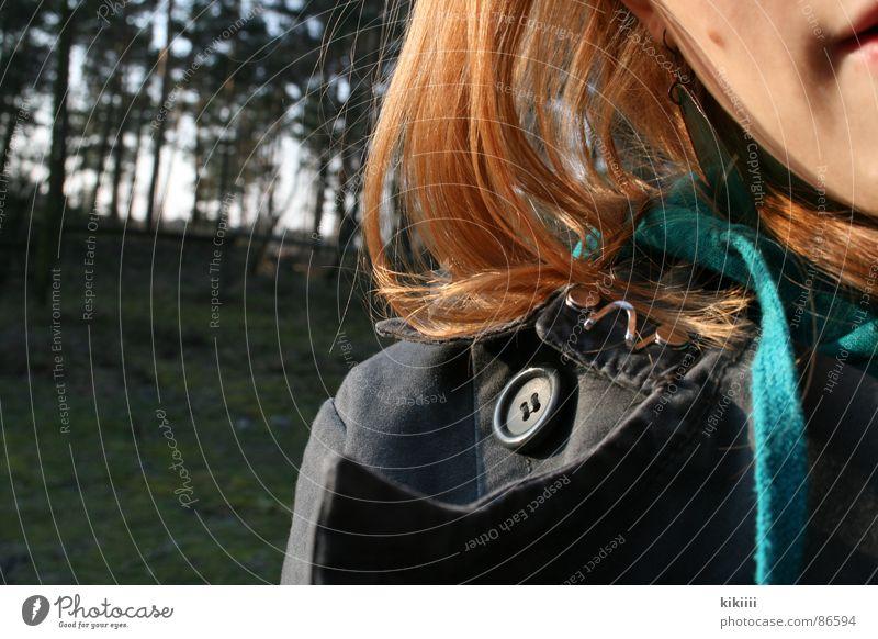 keine halben sachen Freude Wald grau Kraft blond Mund Jacke türkis Kapuze Selbstportrait Bekleidung