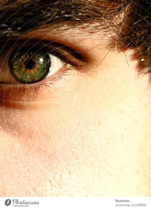 BLIND Mann grün Gesicht Auge Haut nah kommen Wimpern Ablehnung abweisend abgelehnt