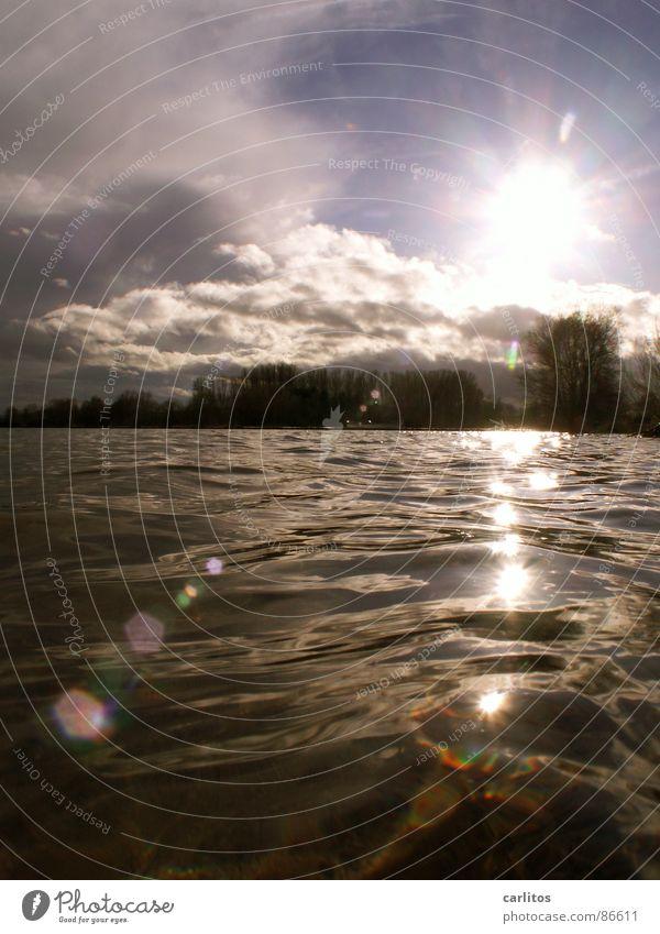 Stille Wasser sind tief .... Himmel Natur Wasser Sonne Wolken Umwelt dunkel kalt Gefühle Wärme See hell Horizont Eis glänzend frisch