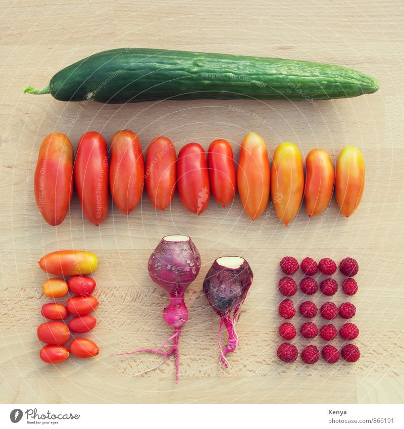 Aus dem Garten grün rot Lebensmittel Gemüse Ernte ökologisch Tomate Himbeeren Gurke Radieschen