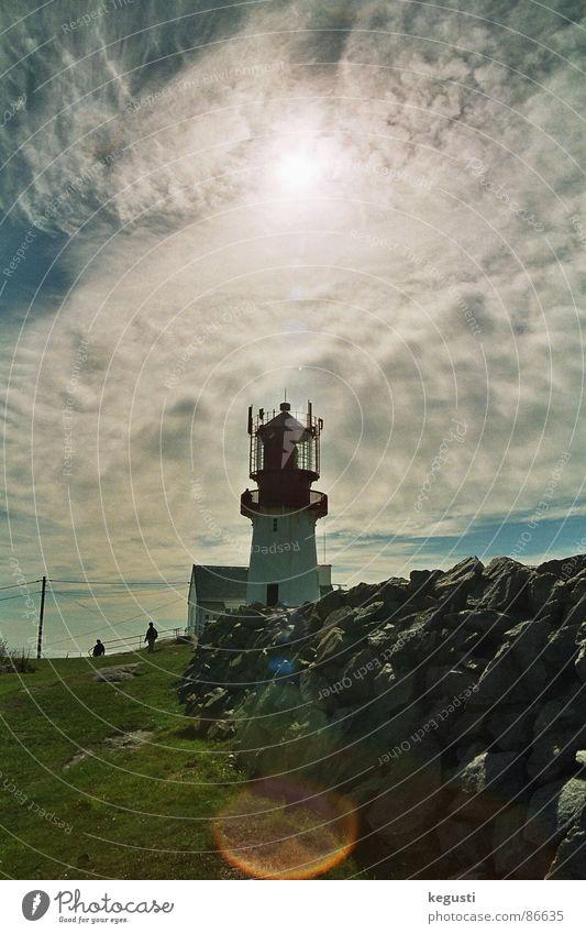 Lindesnes fyr Leuchtturm Schifffahrt Küste Wiese Wolken September Architektur Sommer Wind Stein Sonne