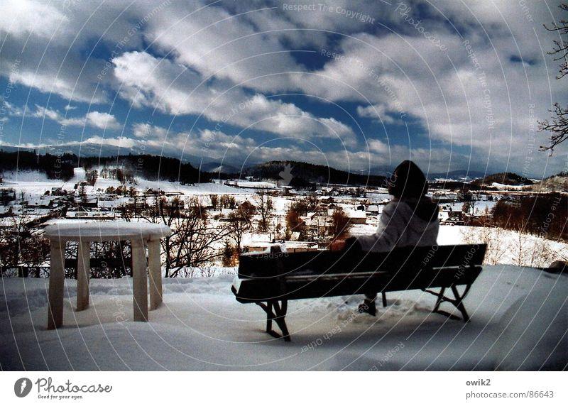 Noch fünf Minuten Mensch Himmel Natur Ferien & Urlaub & Reisen Erholung Landschaft ruhig Ferne Winter Berge u. Gebirge Erwachsene Umwelt Schnee Freiheit