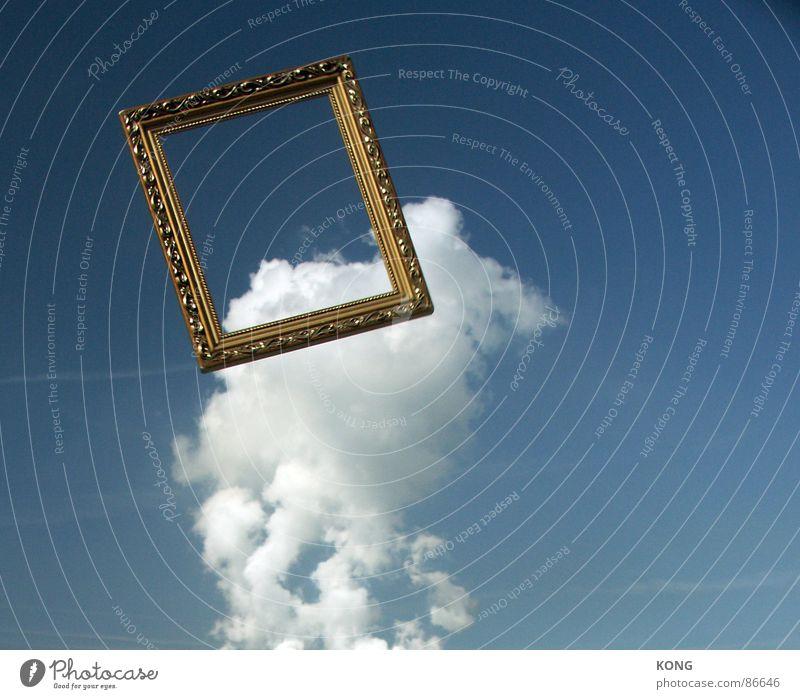 flugrahmen Himmel schön Wolken fliegen Luftverkehr Rahmen aufwärts werfen abwärts Bilderrahmen himmelblau