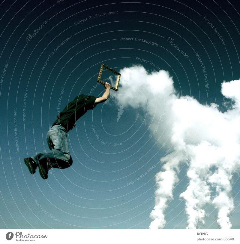 wolken rahmen Himmel Freude Wolken springen Kraft fliegen Flugzeug Luftverkehr Coolness Rahmen aufwärts werfen lässig abwärts Bilderrahmen