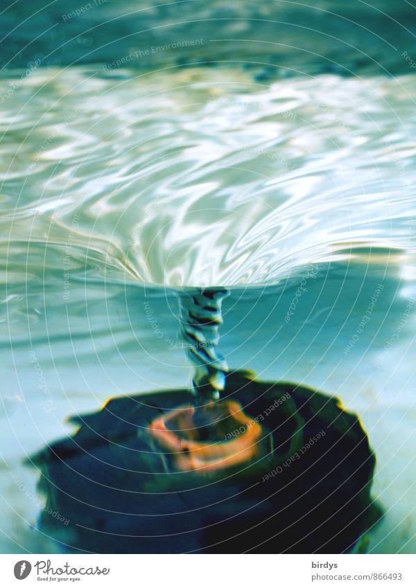 Sogwirkung Wasser drehen ästhetisch außergewöhnlich fantastisch Flüssigkeit nass positiv türkis Bewegung rein Wasserwirbel Abfluss Spirale durchsichtig