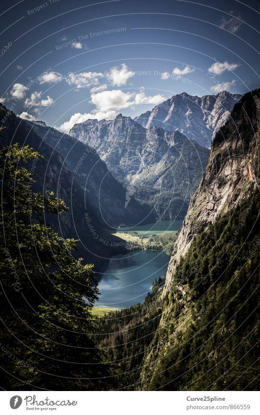 Idylle Himmel Natur blau grün Wasser Sommer Baum Landschaft Wolken Berge u. Gebirge natürlich Stein See Felsen frei ästhetisch