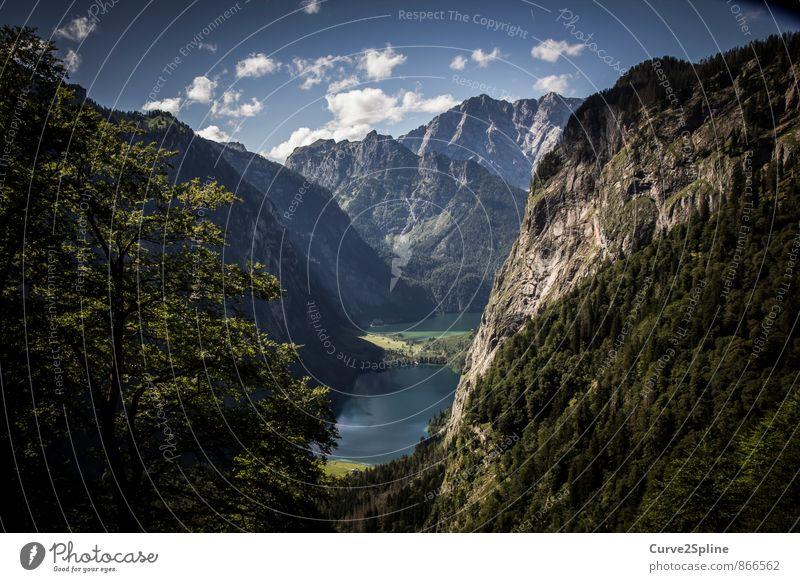 Idylle Natur Wasser Sommer Baum Landschaft Wolken Wald Berge u. Gebirge Freiheit Stein See Felsen authentisch wandern Schönes Wetter Urelemente